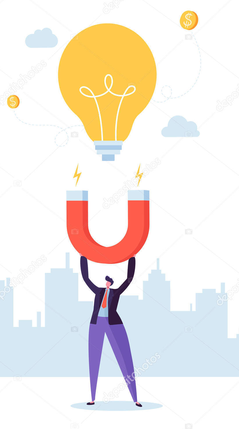 Businessman Character with Big Magnet Attracting New Idea Light